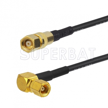 SMC Plug to SMC Plug Right Angle Cable Using RG58 Coax
