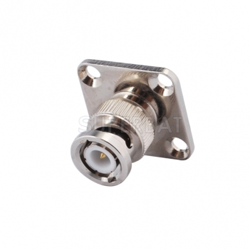 BNC Plug Male Connector Straight 4 Hole Flange Solder