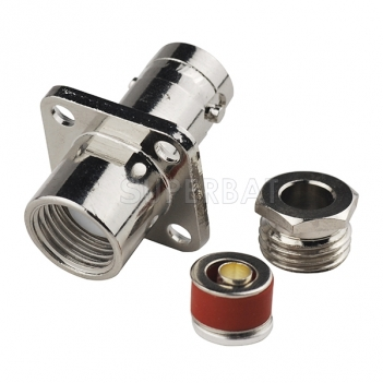 BNC Jack Female Connector Straight 4 Hole Flange Clamp LMR-195