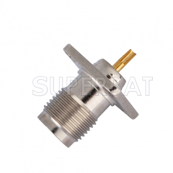 RP TNC Jack Male Connector Straight 4 Hole Flange Solder