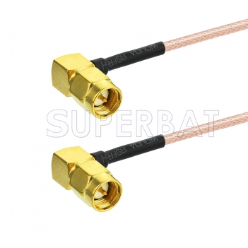 SMA Male Right Angle to SMA Male Right Angle RG178 WiFi Antenna Adapter Coaxial Pigtail Cable