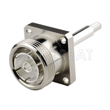 7/16 DIN Jack Female Connector Straight 4 Hole Flange Solder