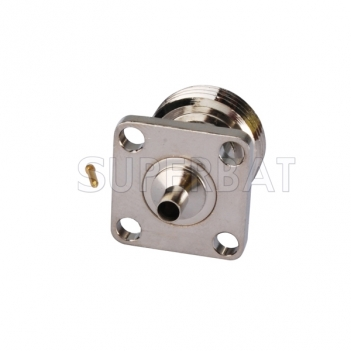 "N Jack Female Connector Straight 4 holes Flange Solder for Semi-Rigid .086"" RG405 Cable"