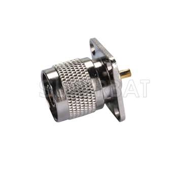 N Plug Male Connector Straight 4 Hole Flange Solder
