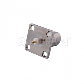 FME Plug Male Connector Straight 4 Hole Flange Solder