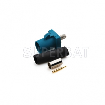"Superbat Fakra ""Z"" crimp male plug connector Water Blue /5021 Neutral coding for RG316"