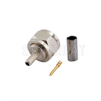 F Plug Male Connector Straight Crimp RG179