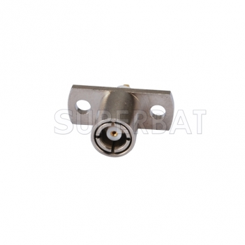 SMB Plug Female Connector Straight 2 Hole Flange Solder