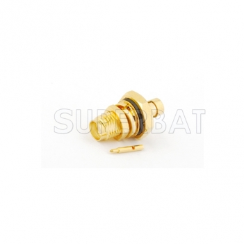 "RP SMA Jack Male Connector Straight Bulkhead With O-Ring Solder for Semi-Rigid .141"" RG402"