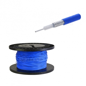 Formable 086 Semi-Flexible Coax Cable with Tinned Copper Braid Outer Conductor and Blue FEP Jacket 1 Meter