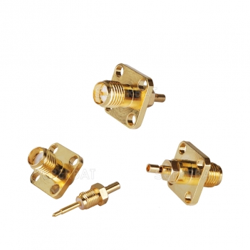 RP SMA Jack Male Panel Mount 4 Hole Flange Connector for 1.13mm cable