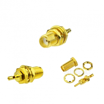 SMA Jack Female Connector Straight Bulkhead with 15mm long thread Solder 1.13mm cable