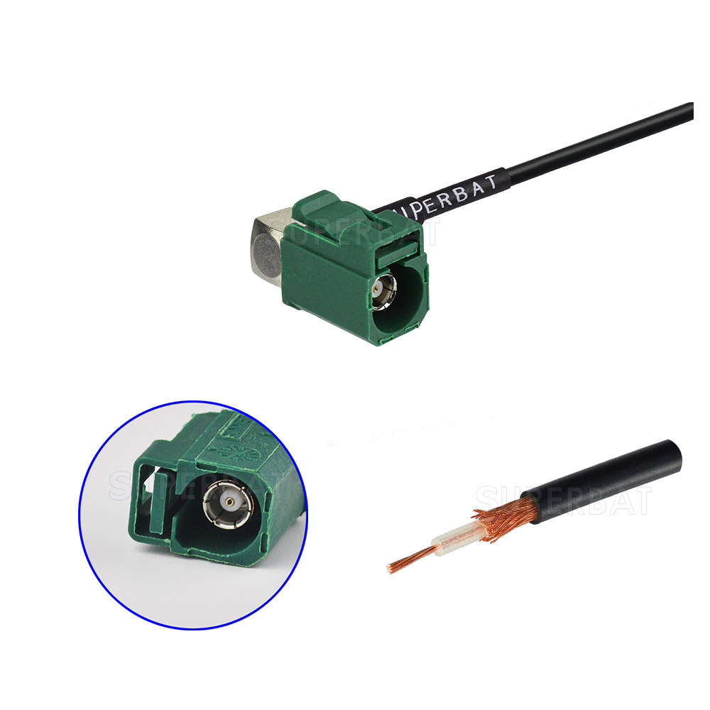 antenna Right angle jack green Fakra for RG174 custom cable assemblies