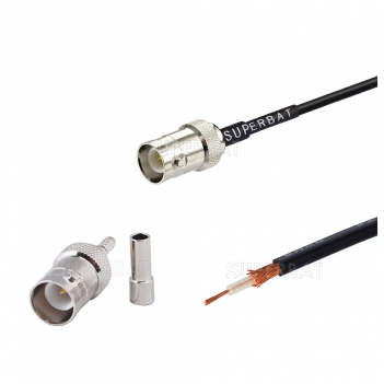 Striaght plug RP-BNC custom coaxial cable assembly for RG-174