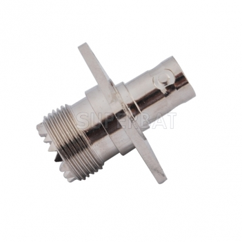 RF Coaxial Coax Handheld Radio Antenna Adapter BNC Female to UHF Female so239 SO-239 Connector 4 Hole Flange Panel Mount straight Adaptor