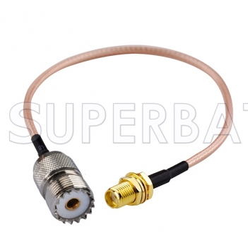 RF coaxial UHF Female SO239 SO-239 to SMA Female Coax Connector Pigtail Jumper RG316 Extension Cable -Ham Radio Antenna Adapter Cable Assembly