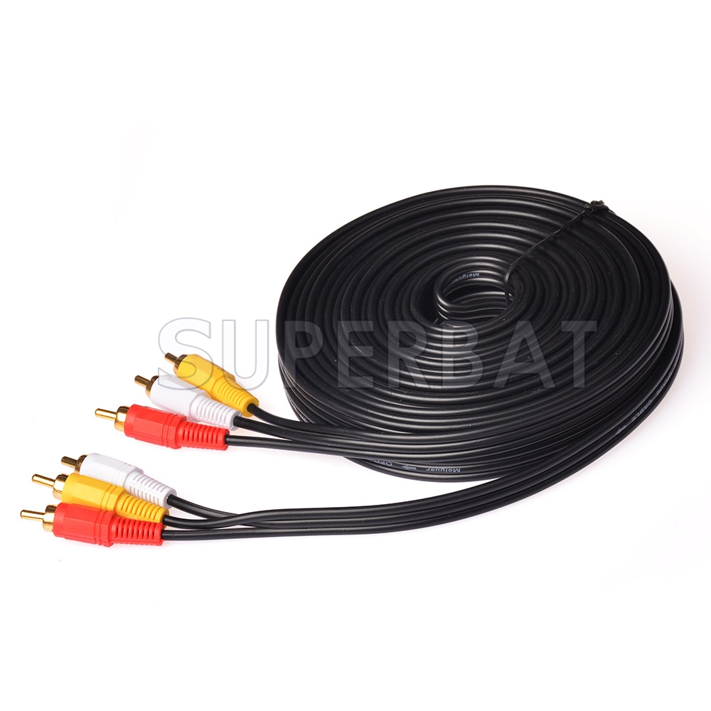 33 FT Premium 3 RCA Gold Plated Composite Extension Audio Video AV Cable