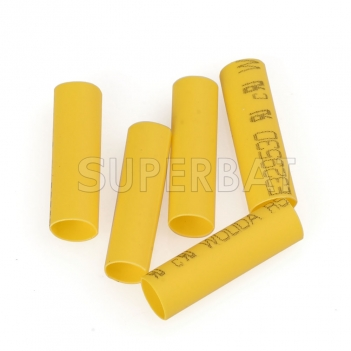 100Pcs yellow Wire Wrap Sleeve 3.5 mm Dia 18 mm Long Heat Shrink Tubing