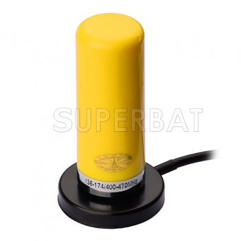 VHF/UHF Dual Band Mobile/yellow Vehicle Radio Antenna with Magnetic Base 5m Cable