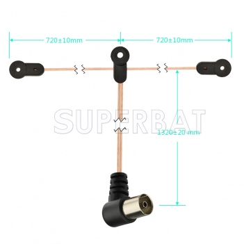 Indoor FM Dipole Antenna Copper Aerial-HD Radio Female Pal Connector 75 Ohm for Stereo
