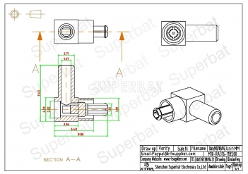 MC-Card Plug Male Connector  Right Angle None Crimp RG316