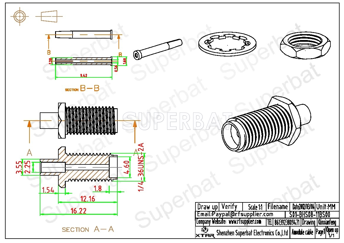 Sma Jack Female Connector Straight Bulkhead Solder For Semi Rigid Pigtail Wire Diagram Superbat 086 Cable Rg405 Rf