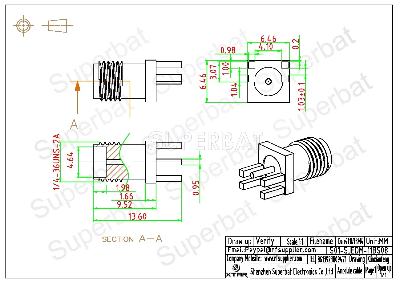 Sma Jack Female Connector Straight Solder 062 Inch End Launch 1 4 Wiring 040