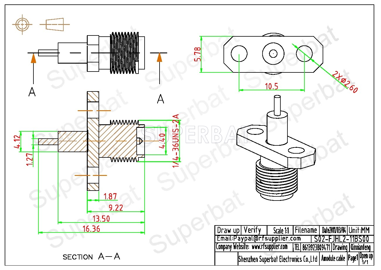 Rp Sma Jack Male Connector Straight 2 Hole Flange Solder