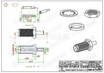 Superbat RP-SMA Jack (male pin) Crimp Connector for RG174 RG316 LMR100
