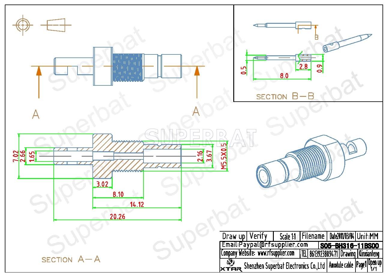 Smb Jack Bulkhead Crimp For Rg316 Rg174 Coaxial Cable Rf Connector Coax Schematic
