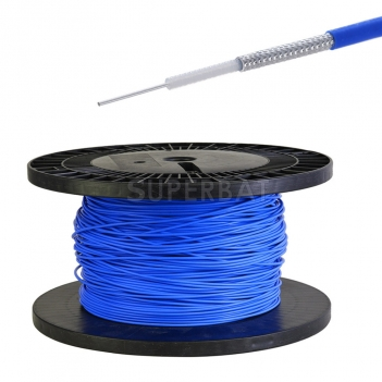 Semirigid Coax Cable 0.047 Diameter with Tinned Copper Braid Outer Conductor and Blue FEP Jacket 1 Meter